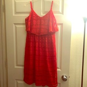 Large red floral lace dress
